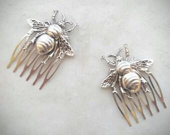 Bee Hair Comb Silver Bee Hair Combs Bee Hair Clip Silver Bee Hair Pin Bumble bee Hair Combs Decorative Hair Combs Bee Jewelry Woodland