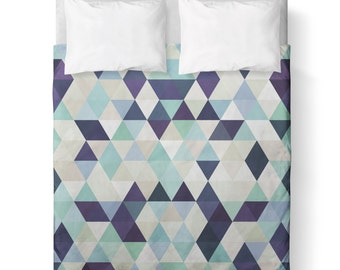 Duvet Cover - Blue Green Purple Triangle Geometric / Comforter cover/  KING, QUEEN, TWIN /bedding/