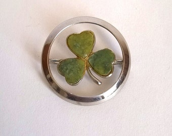 Connemara green marble shamrock brooch