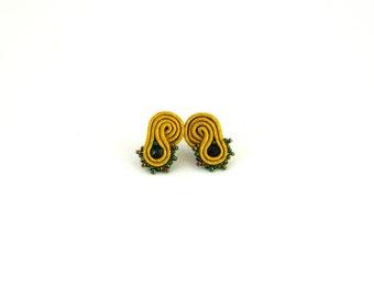 Mustard stud earrings, mustard yellow stud, stud earrings, office earrings, soutache earrings, small earrings, gift for her, beaded jewelry
