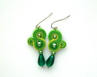 Green earrings, lime green earrings, drop earrings, dangle earrings, boho earrings, soutache earrings