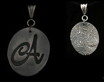 "Handcrafted ""A"" Initial Necklace, Paisley Jewelry, Initial Pendant, Necklace Letter, Pendant Initial Necklace, Friend Gifts, Unique Silver"