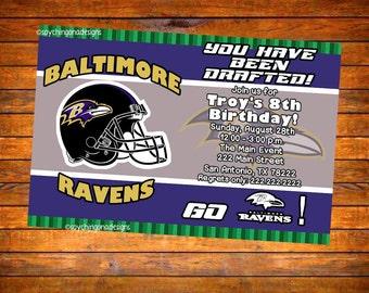 Baltimore Ravens Football Personalized Invitation - Digital Download or Printed w Envelopes