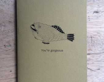 YOU'RE GORGEOUS illustrated blank card- made in Manchester