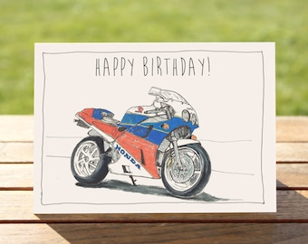 """Motorcycle Birthday Card - Classic sportsbike   A6 Measures: 6"""" x 4"""" / 103mm x 147mm     Motorbike Gift Card, Motorcycle Gift Card"""