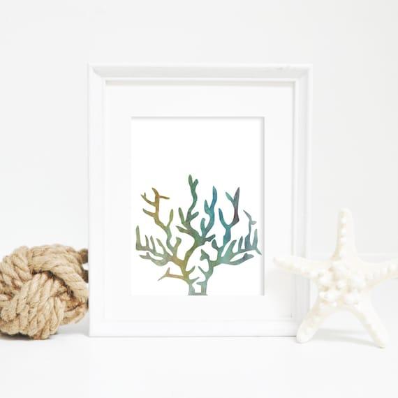 Coral Print, Watercolor Wall Art, Green Print, Art Print for Kids Beach Print, Tropical Wall Art, Tropical Print, Coral Wall Art Nursery Art
