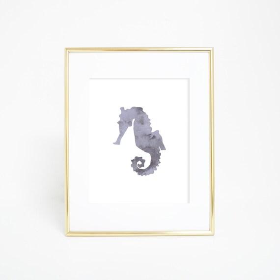 Coastal Decor, Gray Seahorse, Nautical Decor, Seahorse Print, Printable Decor, Seahorse Wall Art, Beach House Decor, Printable Artwork