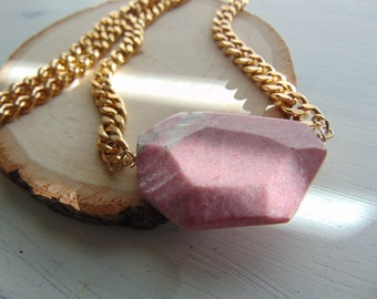 Pink Stone Necklace with Aluminum Chain