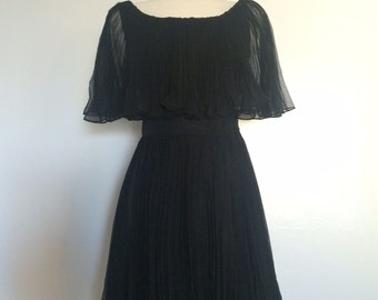 Vintage 1960's Pleated Dress with Capelet