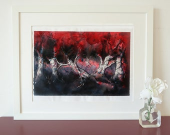 Bleeding heart-trees. Zendoodle watercolor landscape, original painting.
