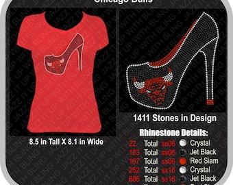 Chicago Bulls Rhinestone Shoe