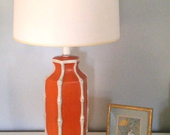Vintage Orange Faux Bamboo Table Lamp Ceramic Hollywood Regency Palm Beach Tropical Asian