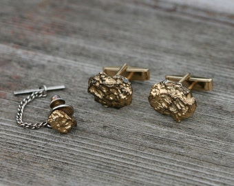 Vintage Gold Tone Nugget Cuff Links and Tie Tack Set