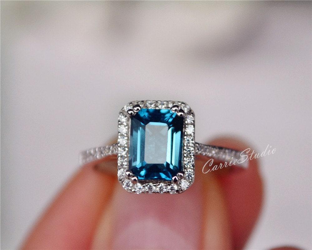 blue topaz ring emerald cut topaz engagement