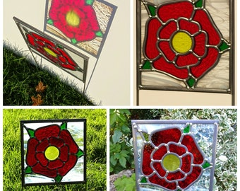 Made to order- Rose Stained Glass Garden Art Ornament Sculpture Suncatcher in colours you choose, inspired by Great Rose window York Minster
