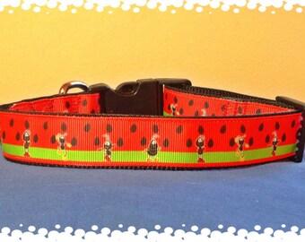 1 Inch Wide Custom Made Adjustable Picnic Time Grosgrain Pattern Dog Collar