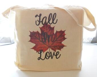 8oz Cotton Canvas Fall In Love Tote Bag, Market Bag, Reusable Tote Bag, Workout Bag, Yoga Bag, Natural Tote, Fall Leaf Tote Bag