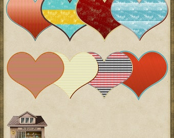 8 Retro PNG Hearts for Scrapbooking *Instant Download*