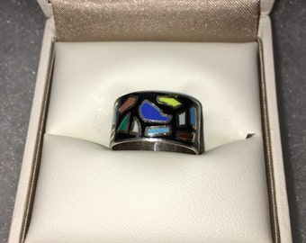 Sterling Silver all Black and Multicolored Ring Size: 6.5