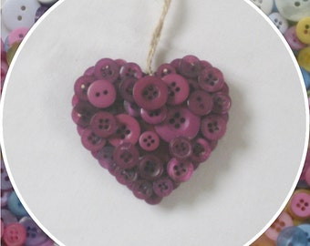 Handmade Magenta Button Hanging Hearts