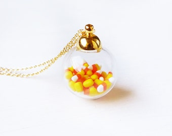 Elfi Handmade Cute Tiny Candy Corn in Mini Glass Jar Necklace Miniature Dessert Food Jewelry, Halloween Gift, Kawaii, Best selling