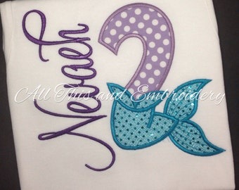 Personalized Mermaid Birthday, Mermaid Birthday Applique Shirt, Mermaid Numbers, Birthday Shirt, Girls Mermaid Shirt, Little Mermaid Shirt
