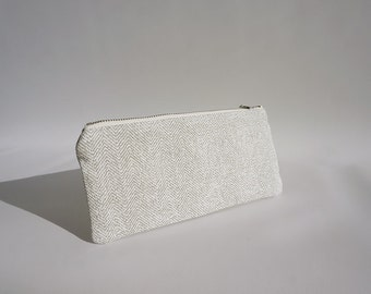 Cotton pencil case for women / Modern gray pouch / Gray pencil case / Zipped pouch / Trousse en coton