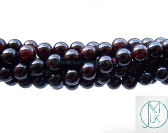 Garnet Natural Gemstone Rounds Beads 8mm Jewellery Making (47-50 Beads) A Grade Free Uk Shipping