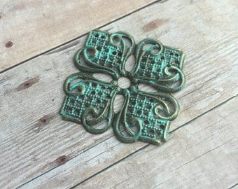 2 pcs Hand painted metal filigree stamping embellishment, faux patina color, 56x56mm