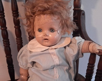 Antique Baby Doll Composition. Eyes Open Close Creepy