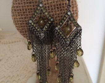 Green Stone Chandelier Earrings