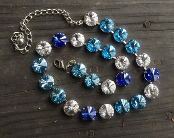 12mm rivolli Swarovski crystal necklace made with blues