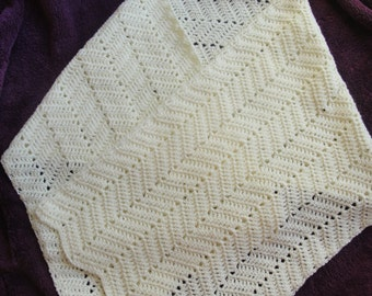 """Handmade Crochet Wrap for cool summer nights. 17 1/2 """" wide and 70"""" long."""