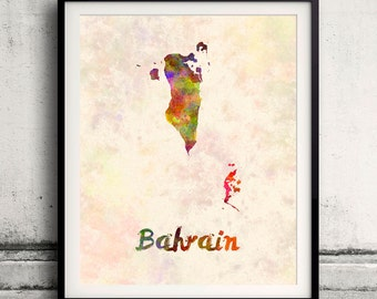 Bahrain - Map in watercolor - Fine Art Print Glicee Poster Decor Home Gift Illustration Wall Art Countries Colorful - SKU 1796