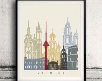 Vilnius skyline poster - Fine Art Print Landmarks skyline Poster Gift Illustration Artistic Colorful Landmarks - SKU 1940