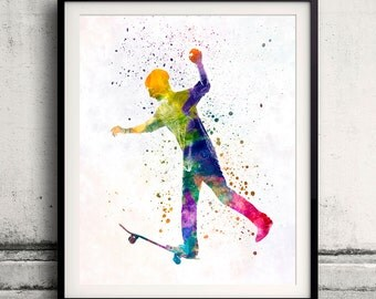 Man skateboard 06 in watercolor - poster watercolor wall art splatter sport illustration print Glicée artistic - SKU 2042