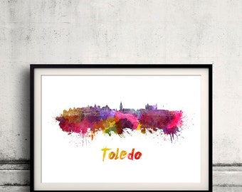 Toledo skyline in watercolor over white background with name of city - Poster Wall art Illustration Print - SKU 1525