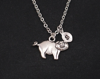 pig necklace, initial necklace, silver pig charm, pig charm necklace, fun necklace, animal jewelry, girls jewelry, for her, Valentines Day