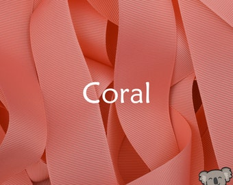 Coral Grosgrain Ribbon 3 Metre Cut, FREE Shipping, 64 Colours in 7 Widths Available