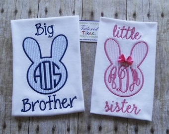 Personalized Big Brother Little Sister Shirt with Applique Bunny & Monogram - Brother Sister Sibling Set - Easter Sibling Set - Bunny Shirts