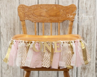 Pink and Gold High Chair Banner, Pink and Gold First 1st Birthday, Winter Onederland, Winter Wonderland, Girl First 1st Birthday Banner