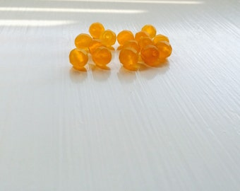 15 Tangerine Matte Faceted Czech Rounds, 8mm, 15pcs, Tangerine, Matte Finish, Rounds, Bead Supplies