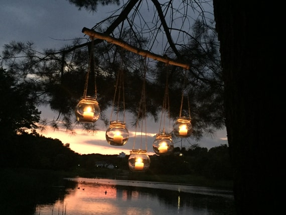 Rustic chandelier boho hanging candles woodland theme for Rustic outdoor chandelier