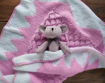 FREE SHIPPING! Pink Knit baby girl blanket 95*95 cm (37'' * 37'')