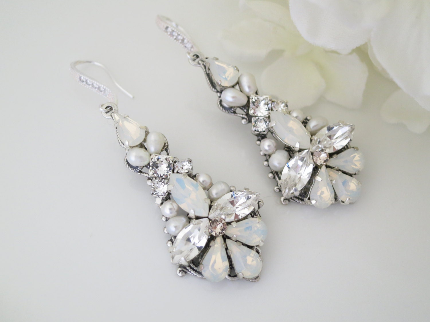 Wedding Earrings, Swarovski White Opal Statement Chandelier, Crystal and pearl bridal earring, Opal rhinestone wedding earring