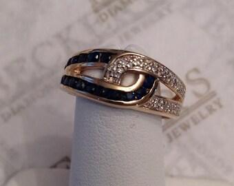 Vintage 10k Interlocking Double Loop Ring with Round Diamonds & Sapphires .88 tw size 6
