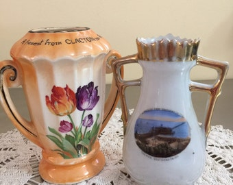 Vintage British Resort Souvenirs | Pair of Vases | Clacton on Sea | Southend on Sea | Downton Abbey | English Country Decor | China Vases