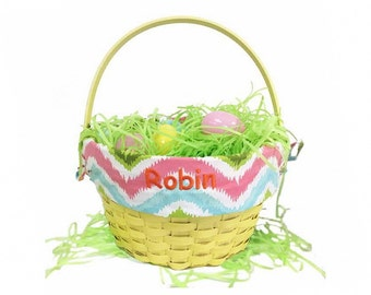 Personalized Yellow Chevron Pattern Easter Basket