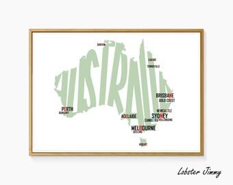 Letter Map of Australia, Custom Made Maps, Digital Art Ready to Print, Map Wall Art