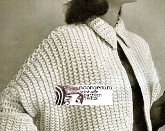 Knit Bolero The Cavalier Bat-Wing Bolero Knitting Pattern PDF Instant Download Sizes 12-14-16 Shrug Shortie Sweater